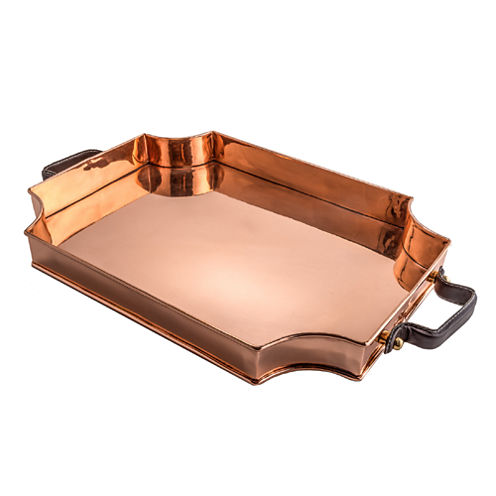 Old Dutch Royale Solid Copper Rectangular Tray with Leather Handles