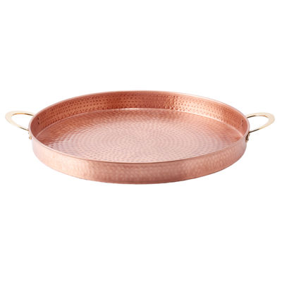 Old Dutch Solid Copper Hammered Round Tray with Brass Handles 20in
