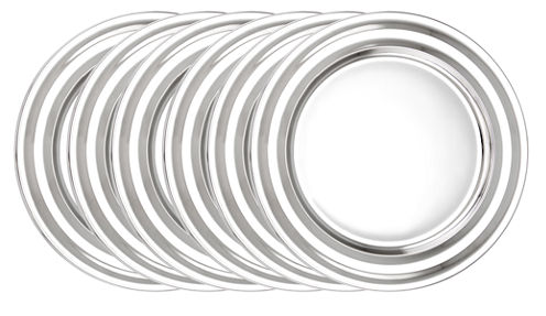 Old Dutch 13in Stainless Steel Collar Rim ChargerPlates Set of 6