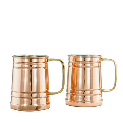Old Dutch 1 Pt Solid Copper Beer Stein Set of 2