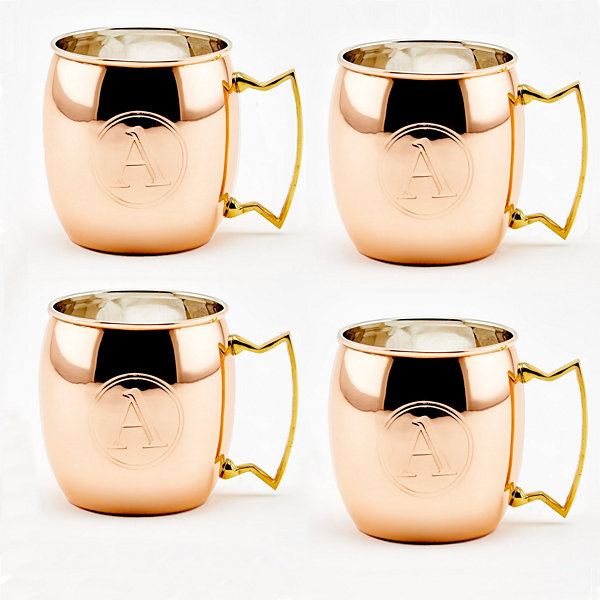 Old Dutch 16 Oz Solid Copper Moscow Mule Mugs Monogram A Set of 4