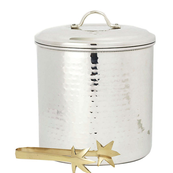 Old Dutch Hammered Stainless Steel Ice Bucket withBrass Tongs 3 Qt