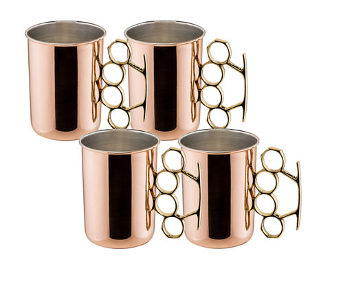 Old Dutch 20 Oz Solid Copper Brass Knuckle MoscowMule Mugs Set of 4