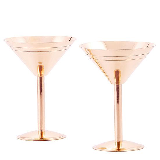 Old Dutch Solid Copper Martini Glasses Set of 2
