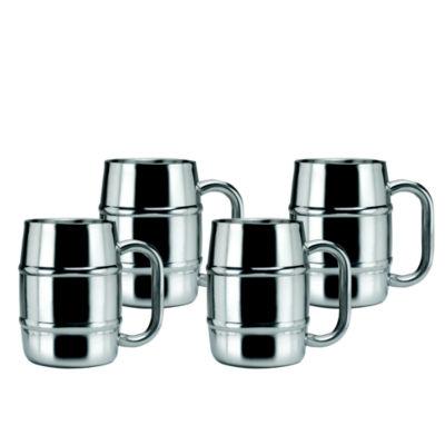 Old Dutch 16.9 Oz Keep Kool Double Walled Stainless Steel Mugs Set of 4