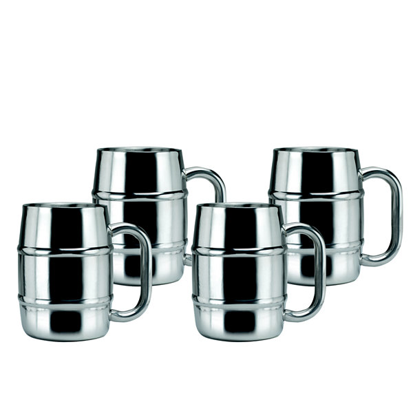 Old Dutch 16.9 Oz Keep Kool Double Walled Stainless Steel Mugs Set of 4