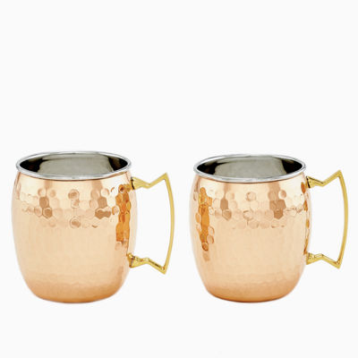 Old Dutch Two Ply Hammered Solid Copper and Stainless Steel 16 Oz Moscow Mule Mugs Set of 2
