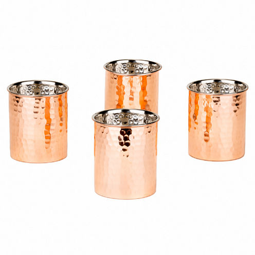 Old Dutch 12 Oz Hammered Solid Copper Straight Sided Tumblers Set of 4