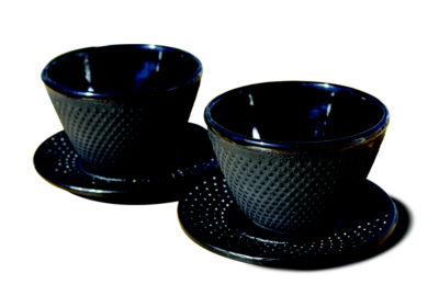 Old Dutch 4 Ounce Matte Black Cups and Saucers Setof 2