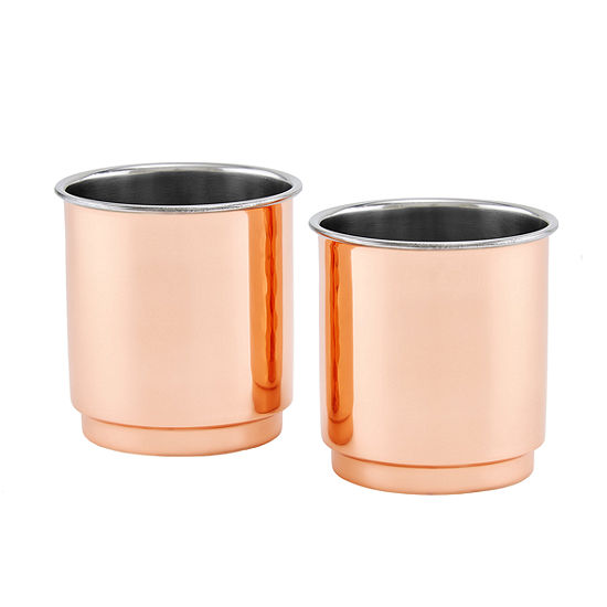 Old Dutch Two Ply Copper and Stainless Steel Whiskey Tumbler Plain Straight Sided Set of 2