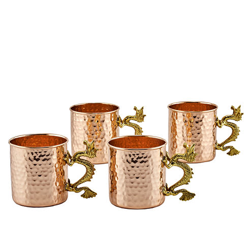 Old Dutch 20 Oz Solid Copper Dragon Handle Hammered Straight Sided Mugs Set of 4