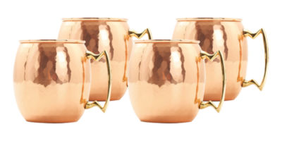 Old Dutch 24 Oz Hammered Solid Copper Moscow MuleMugs Set of 4