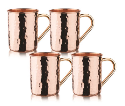 Old Dutch 14 Oz Hammered Solid Copper Straight Sided Moscow Mule MugsSet of 4