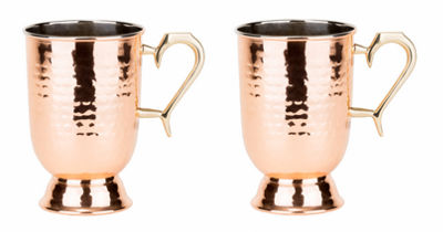 Old Dutch 16 Oz Solid Copper Hammered Tankard withBrass Handle Set of 2