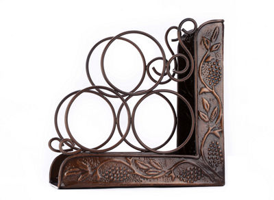 Old Dutch Antique Embossed Heritage 3 Bottle Bookend Wine Rack