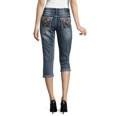 Love Indigo Embellished Back Flap Pocket Capris