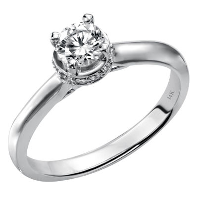 Womens 5/8 CT. T.W. Genuine White Diamond 14K White Gold Engagement Ring