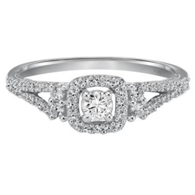 Womens 1/3 CT. T.W. Genuine Round White Diamond 14K Gold Engagement Ring