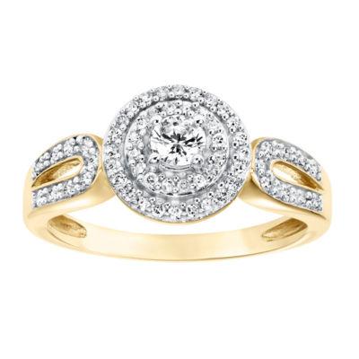 Womens 3/8 CT. T.W. Genuine White Diamond 10K Gold Halo Engagement Ring