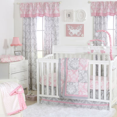 The Peanut Shell Damask Patchwork 3-pc. Crib Bedding Set