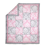 The Peanut Shell Damask Patchwork 3-pc. Crib Bedding Set