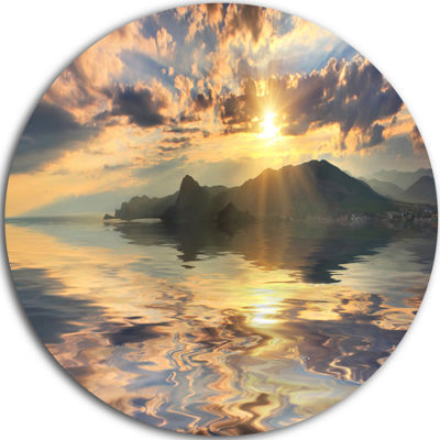 Designart Hill Overlooking the Seaside Town Landscape Metal Circle Wall Art