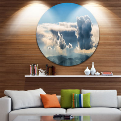Designart Heavy Clouds in Sky Panoramic View Landscape Metal Circle Wall Art