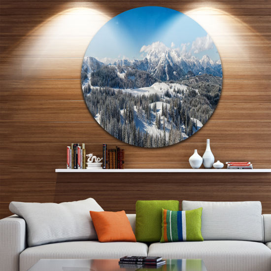 Designart Austrian Alps Winter Panorama LandscapeMetal Circle Wall Art