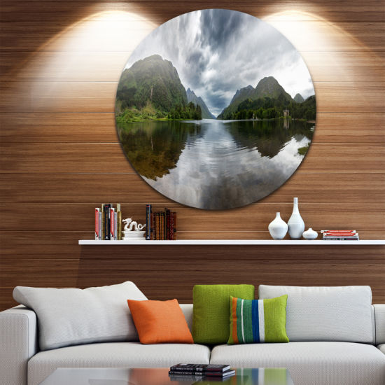Designart Highland Mirrored in Calm Waters Landscape Metal Circle Wall Art