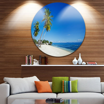 Designart Palms Bent to Beautiful Vacation BeachSeascape Metal Artwork