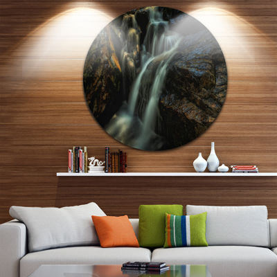 Designart Slow Motion Waterfall in Summer Landscape Metal Circle Wall Art