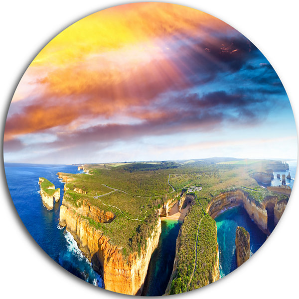 Designart Aerial View of Great Ocean Road Large Seascape Art Metal Circle Wall Art