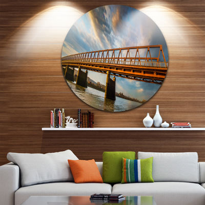 Designart Old Bridge Over River on Cloudy Day Wooden Sea Bridge Metal Circle Wall Art