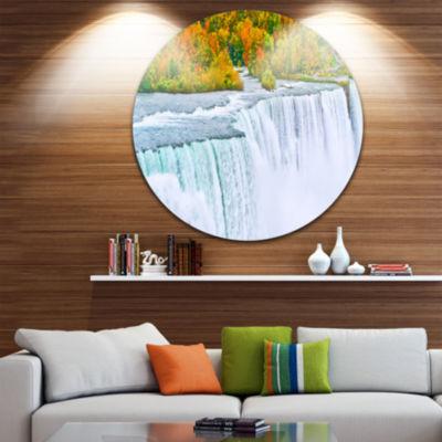 Designart Autumn Niagara Falls Panorama LandscapeMetal Circle Wall Art