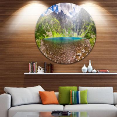 Designart Tatra Mountains Lake Panoramic View Landscape Metal Circle Wall Art