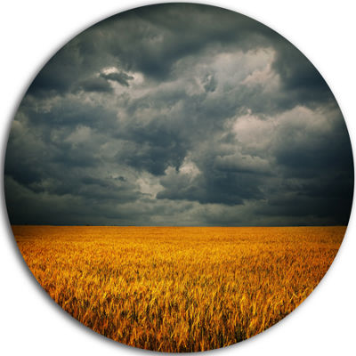 Designart Stormy Clouds Over Wheat Field LandscapeMetal Circle Wall Art