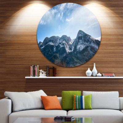 Designart Winter Mountains with Sun Flare Landscape Metal Circle Wall Art