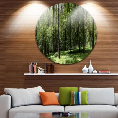 Designart Wild Green Forest Panorama Oversized Forest Metal Artwork