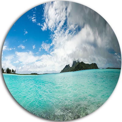 Designart Bora Bora French Polynesia Panorama Large Seascape Art Metal Circle Wall Art