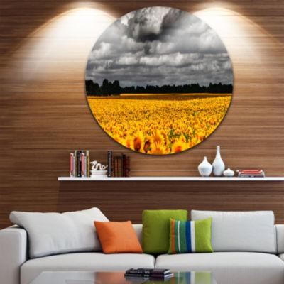 Designart Van Gogh Summer with Clouds Landscape Metal Circle Wall Art