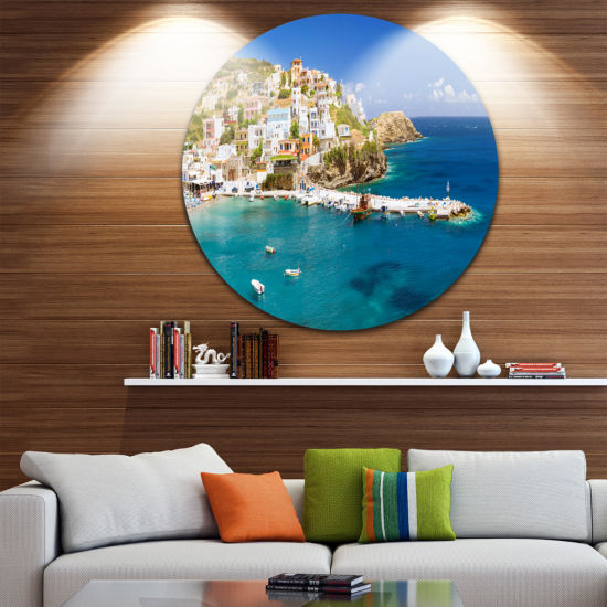 Designart Harbor with Vessels and Boats Large Seascape Art Metal Circle Wall Art