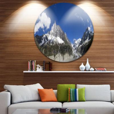 Designart Glacier nearby Chamonix Panorama Landscape Metal Circle Wall Art