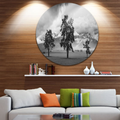 Designart Three Trees in Front of Mountains Landscape Metal Circle Wall Art