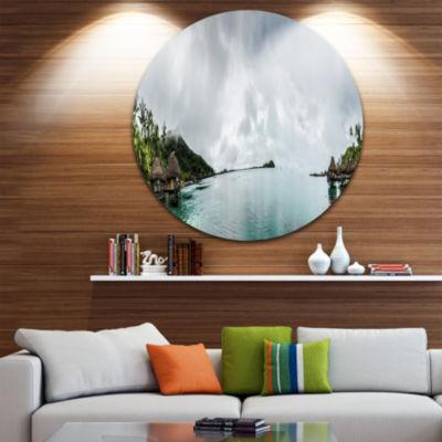 Designart Amazing Bora Bora Panoramic View LargeSeascape Art Metal Circle Wall Art