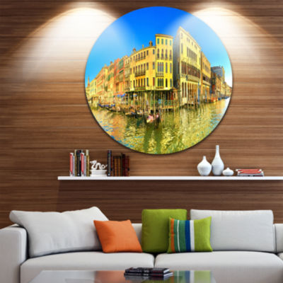 Designart Yellow Tinged Grand Canal Panorama Cityscape Metal Circle Wall Art