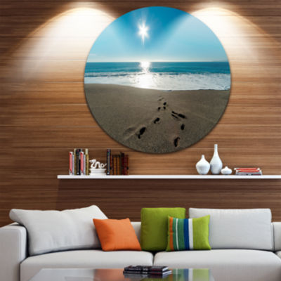 Design Art Blue Sea and Footprints in Sand Large Seascape Art Metal Circle Wall Art
