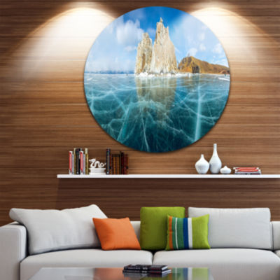 Designart Lake Baikal Ice and Rocks Panorama LargeSeascape Art Metal Circle Wall Art