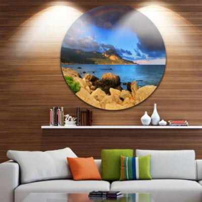 Designart Rainbow over the Ocean Bay Seascape Metal Artwork