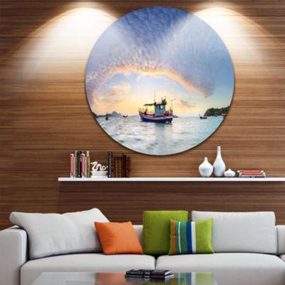 Designart Fishing Boat at Phuket Sunrise Beach Seascape Metal Artwork