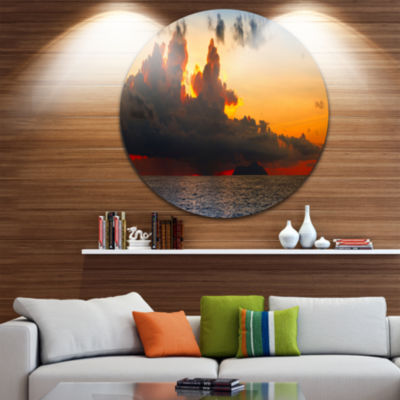 Designart Beautiful Sunset over the Clouds Landscape Metal Circle Wall Art